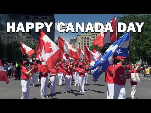 Canada Day 2019 Celebration - Big Parade In Montreal Downtown