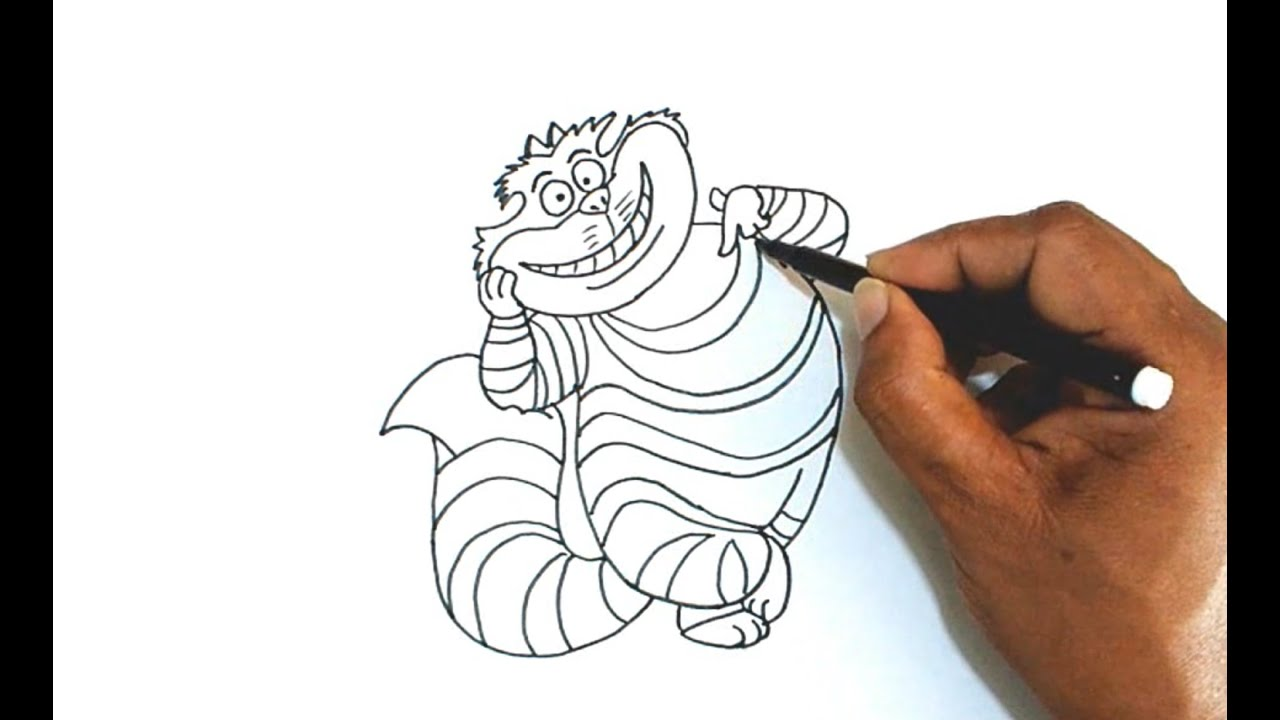 How To Draw The Cheshire Cat From Alice In Wonderland Youtube