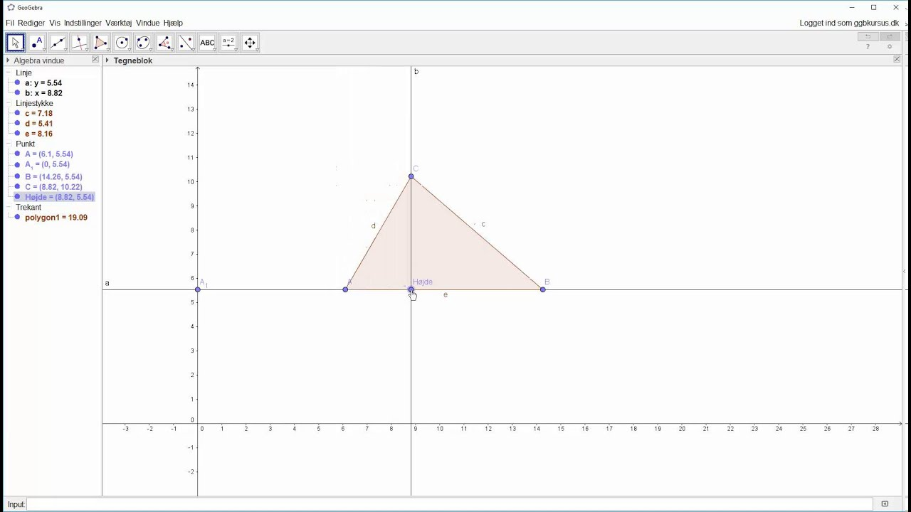 Opstartsøvelse - Konstruer en trekant - Trin 2