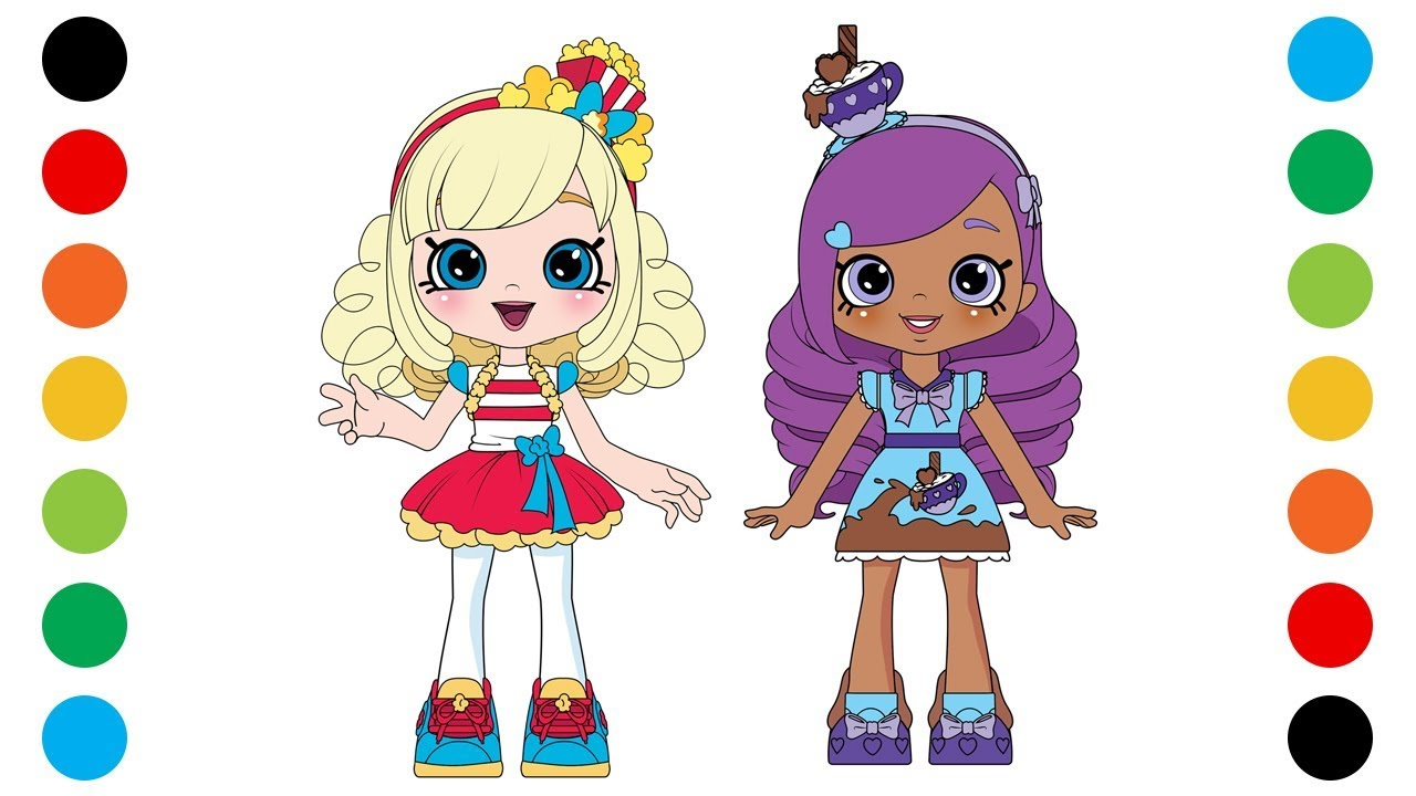 Shopkins Shoppies Popette & Kirstea Coloring Pages for Kids  Digital  Coloring