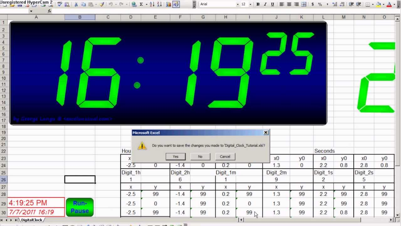 a digital clock in excel youtube