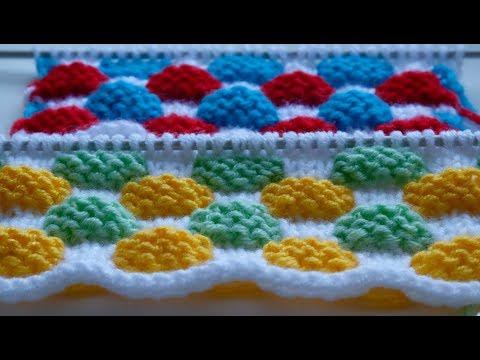 Разноцветные узоры спицами со схемами