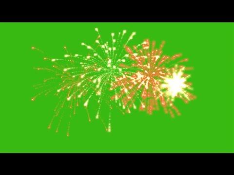 Fireworks green screen effect pack 4  Футаж Салют