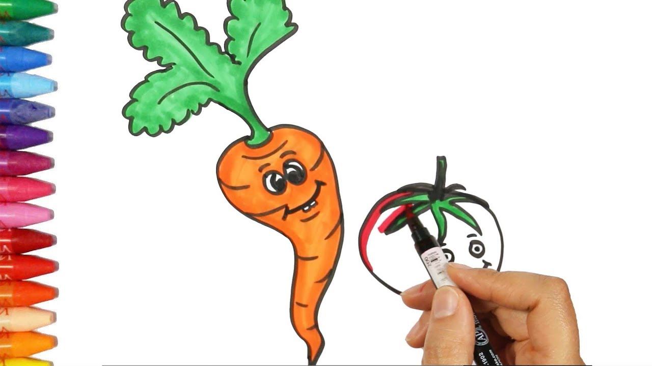 how to draw and color carrot drawing and coloring tomato