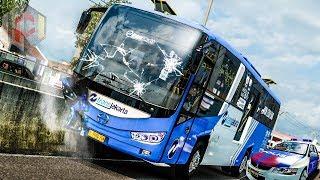 Download Video ✅ Bus Transjakarta Hantam Separator Busway  FREE MOD ETS2 INDONESIA MP3 3GP MP4