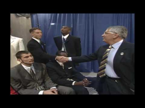 NBA Draft 1996 - players introducing themselves to David Stern *Allen Iverson Pre-Draft action