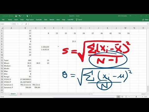 Calculating The Standard Deviation, Mean, Median, Mode, Range, & Variance Using Excel