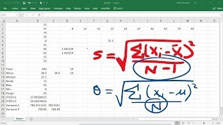 Calculating The Standard Deviation, Mean, Median, Mode, Range, & Varİance Using Excel