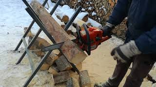 Chainsaw Husqvarna 236 cutting wooden beams Firewood