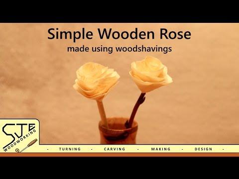 Simple Wooden Rose Made Using Wood Shavings