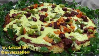 Tavada patates pizzası tarifi - Kolay nefis kahvaltılık tarif - Ev Lezzetleri
