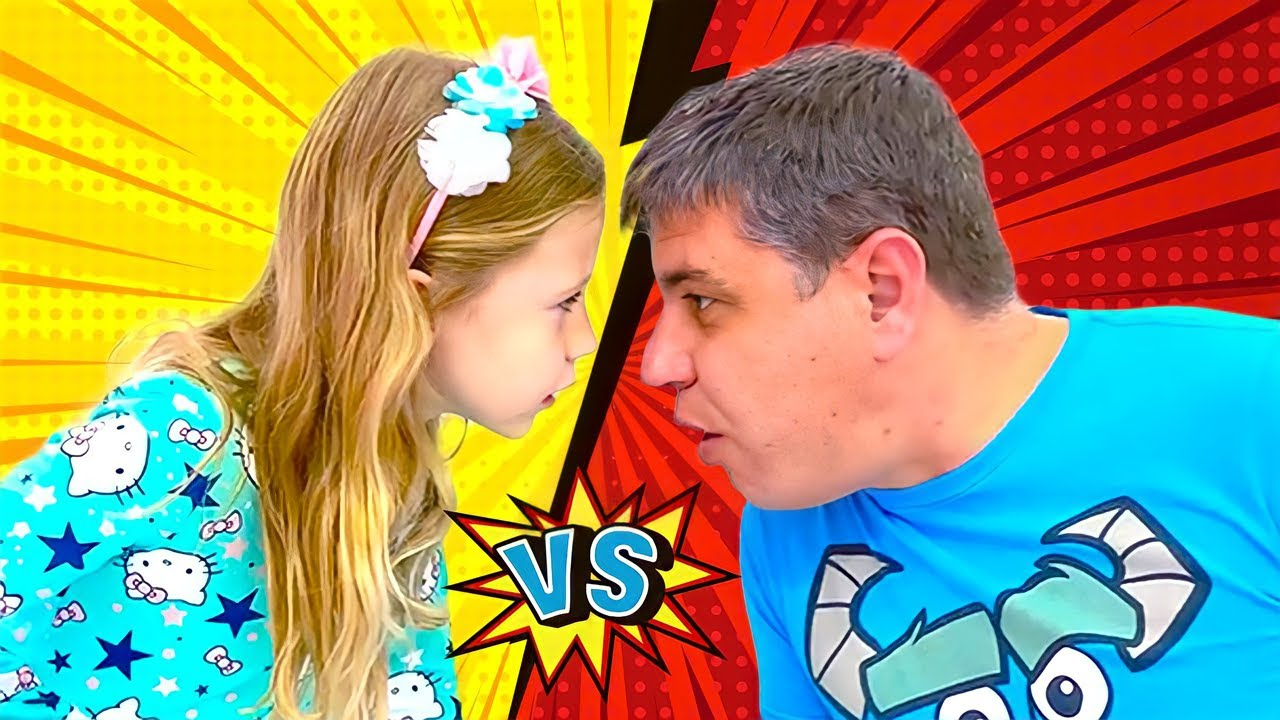 Nastya and dad are playing Copy me Challenge