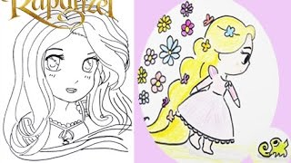 How to draw Disney Princess Rapunzel in Manga and Cute Styles Coloring Video