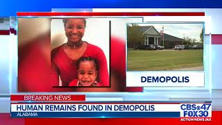 Human remains found in Demopolis, Alabama during the search for Taylor Williams