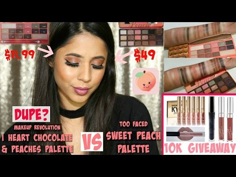 Makeup Revolution I Heart Chocolate & Peaches vs Too Faced Sweet Peach   Review, Swatches