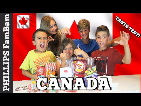 CANADIAN FOOD TASTE TEST| AMERICANS TRY TASTING CANADA SNACKS | PHILLIPS FamBam Challenges