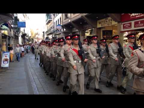 Freedom of City parade Gibraltar on 75th anniversary of founding of Royal Gibraltar Regiment.