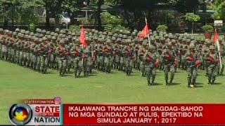 SONA: Ikalawang tranche ng dagdag-sahod ng mga sundalo't pulis, epektibo na simula January 1, 2017