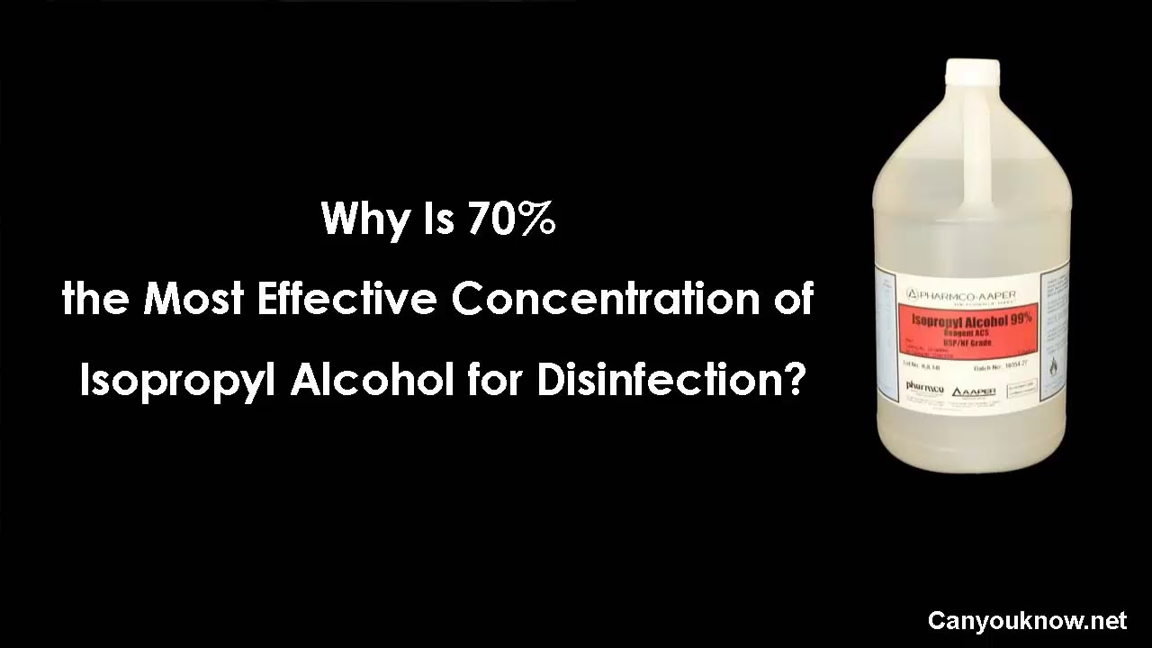 Why Is 70% the Most Effective Concentration of Isopropyl Alcohol for  Disinfection?