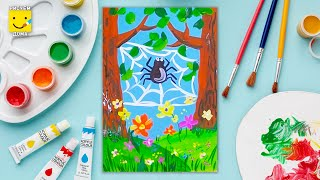 Как нарисовать паука - урок рисования для детей от 4 лет, гуашь,  рисуем дома поэтапно, паучек