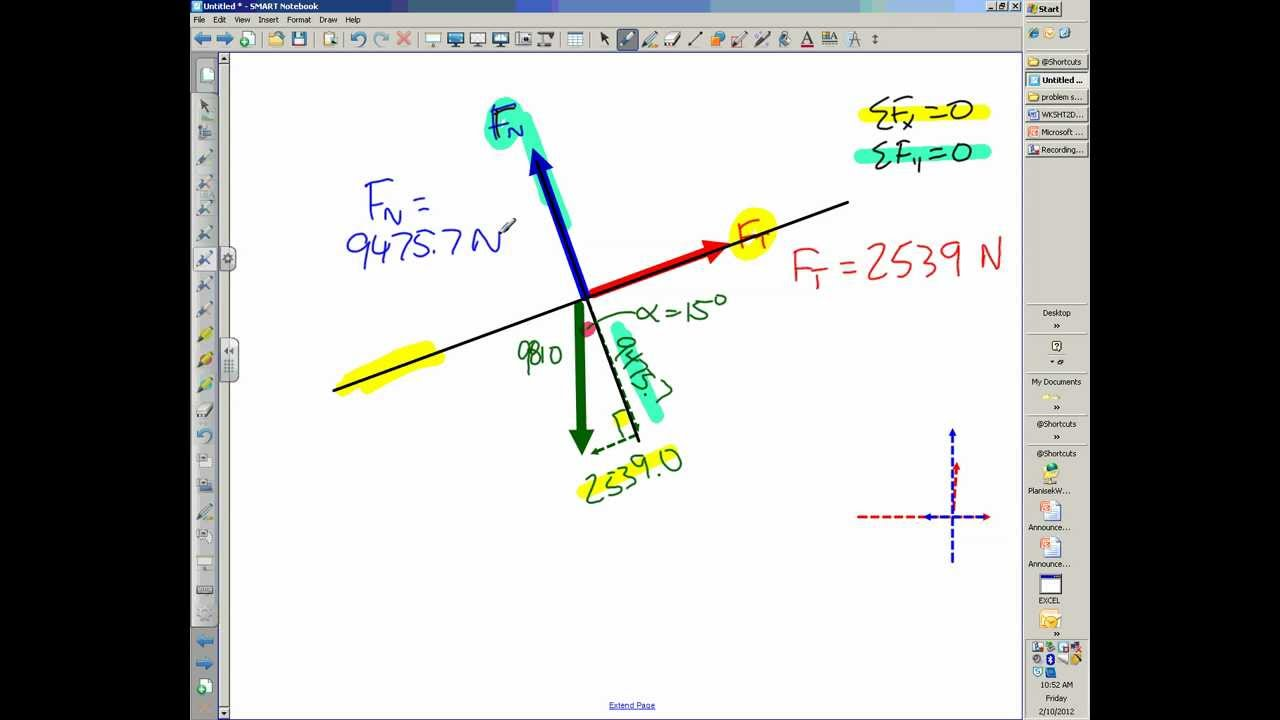 WHS Physics Inclined Plane Example #1 - YouTube