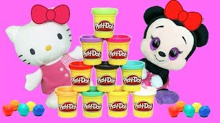 Peppa pig, hello kitty y minnie mouse en guarderia infantil. Videos de juguetes plastilina 2018