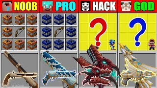 Minecraft NOOB vs PRO vs HACKER vs GOD ABILITY GUN CRAFTING MARIO SONIC EXE MUTANT MONSTER Animation