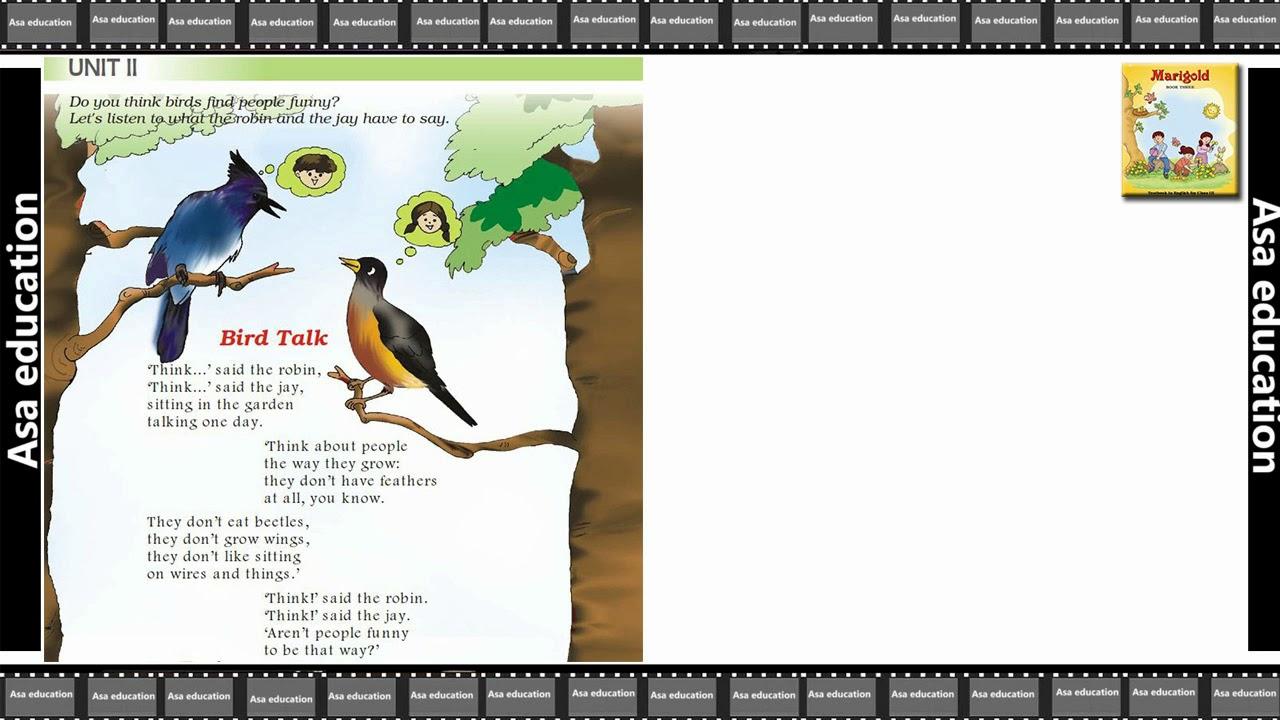 Poem 2 Bird Talk (English - Marigold, Grade 3, CBSE) Poem in Easy ...