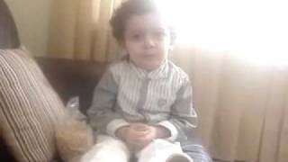 cute little boy learnt capitals of many countries