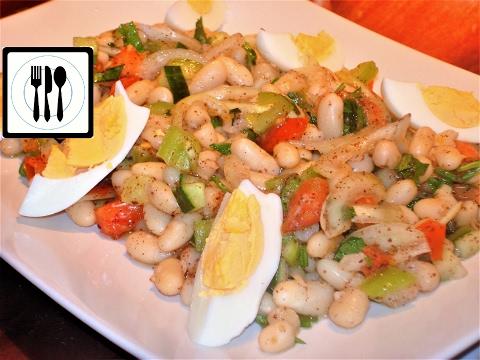 Салат из белой фасоли с помидорами - Пияз - Турецкая закуска. Вегетарианские рецепты.