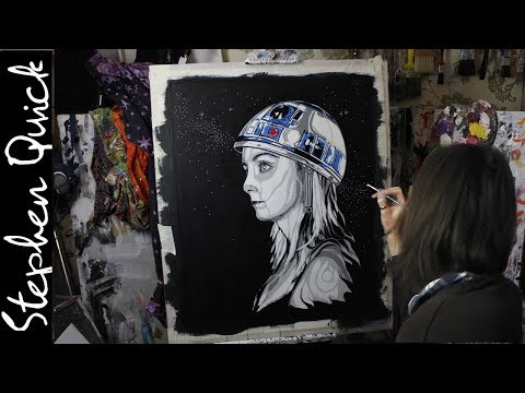 SPRAY PAINT & ACRYLIC PAINTING : STAR GIRL : Star Wars, Tank Girl / Art by Stephen Quick