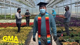 First generation Latinx college grad posts 'commencement' video with his work family l GMA Digital