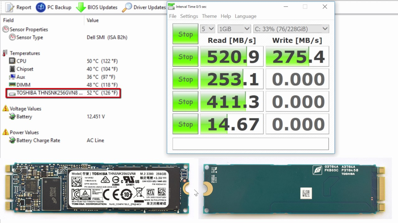 SSD Toshiba THNSNK256GVN8 256GB M 2 performance, temperature and speed test