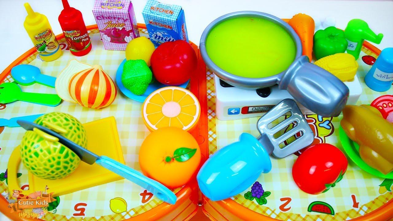 ของเล่นทำอาหาร ของเล่นเครื่องครัว เรียนรู้สี เรียนรู้ชื่ออาหาร วีดีโอสำหรับเด็ก