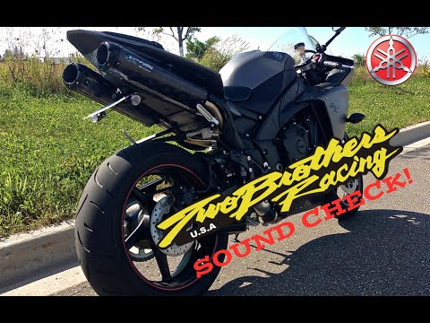 2009 - 2013 Yamaha R1 Stock Exhaust vs Two Brothers Black Series P1X Comparison P1 P1X - YouTube