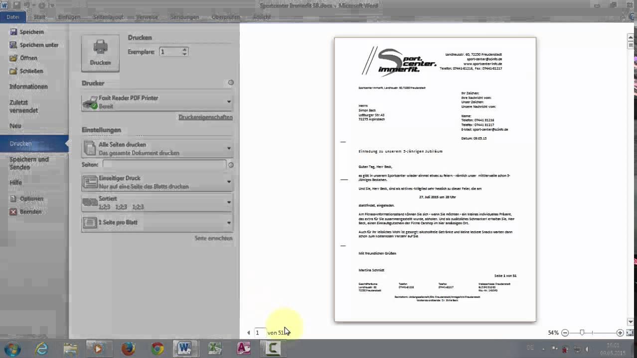 Word Geschäftlicher Din Brief 5008 Serienbrief T14 Datensätze Im