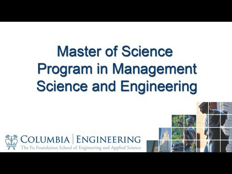 Master of Science Program in Management Science and Engineering
