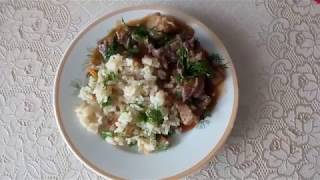 Рис с овощами и гуляш из свинины.