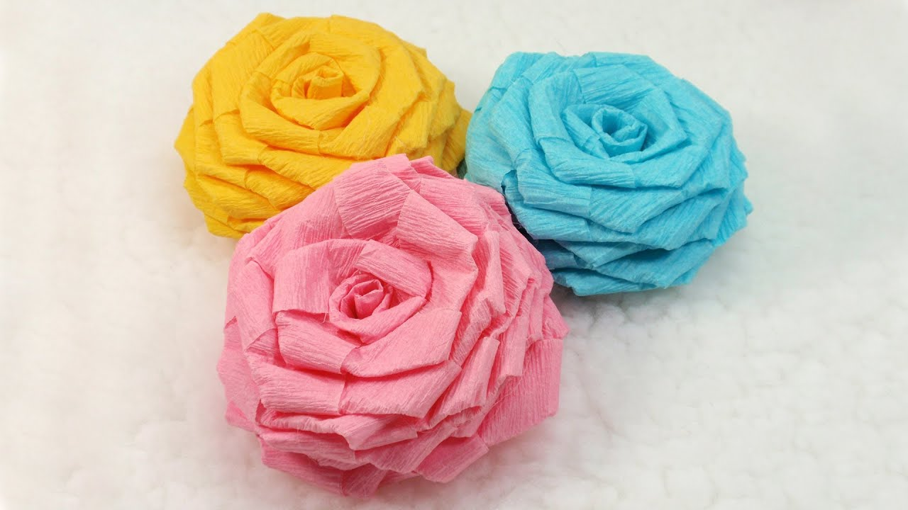 Flower crepe paper rose demirediffusion diy paper flowers tutorial diy crepe paper roses youtube mightylinksfo