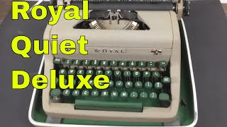 Vintage Royal Quiet Deluxe Typewriter - green keys