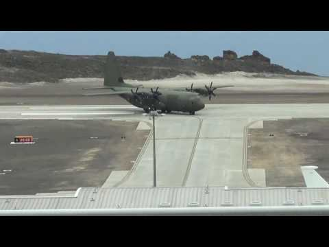 Royal Air Force C130J landing on RWY20 at St Helena Airport on 18 December 2016