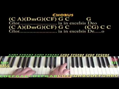 Angels We Have Heard On High - Piano Cover Lesson with Lyrics/Chords
