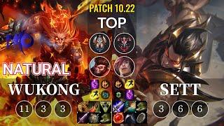 DMO Natural Wukong vs Sett Top - KR Patch 10.22