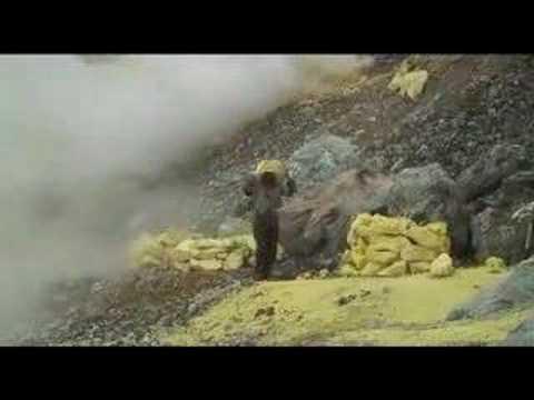 Sulfur Mining On Gunung Welirang Volcano