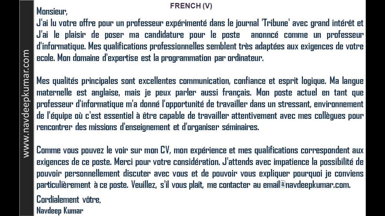 french letters job application letter youtube - Writing A Cover Letter In French