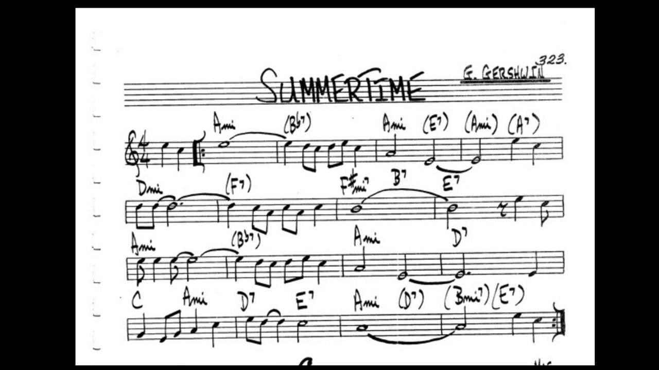 Summertime Play along   Backing track C key score violin/guitar/piano