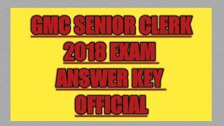 #Gmc senior clerk exam answer key official||gmc bharti2018 paper ||