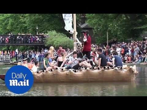 Cambridge students race cardboard boats on 'Suicide Sunday'