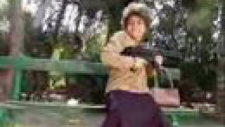Grandma killing pigeons with a MP5