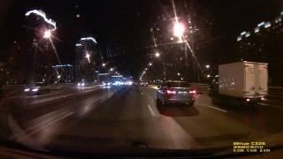 Запись автомобильного видеорегистратора Mio MiVue C325, ночная съемка